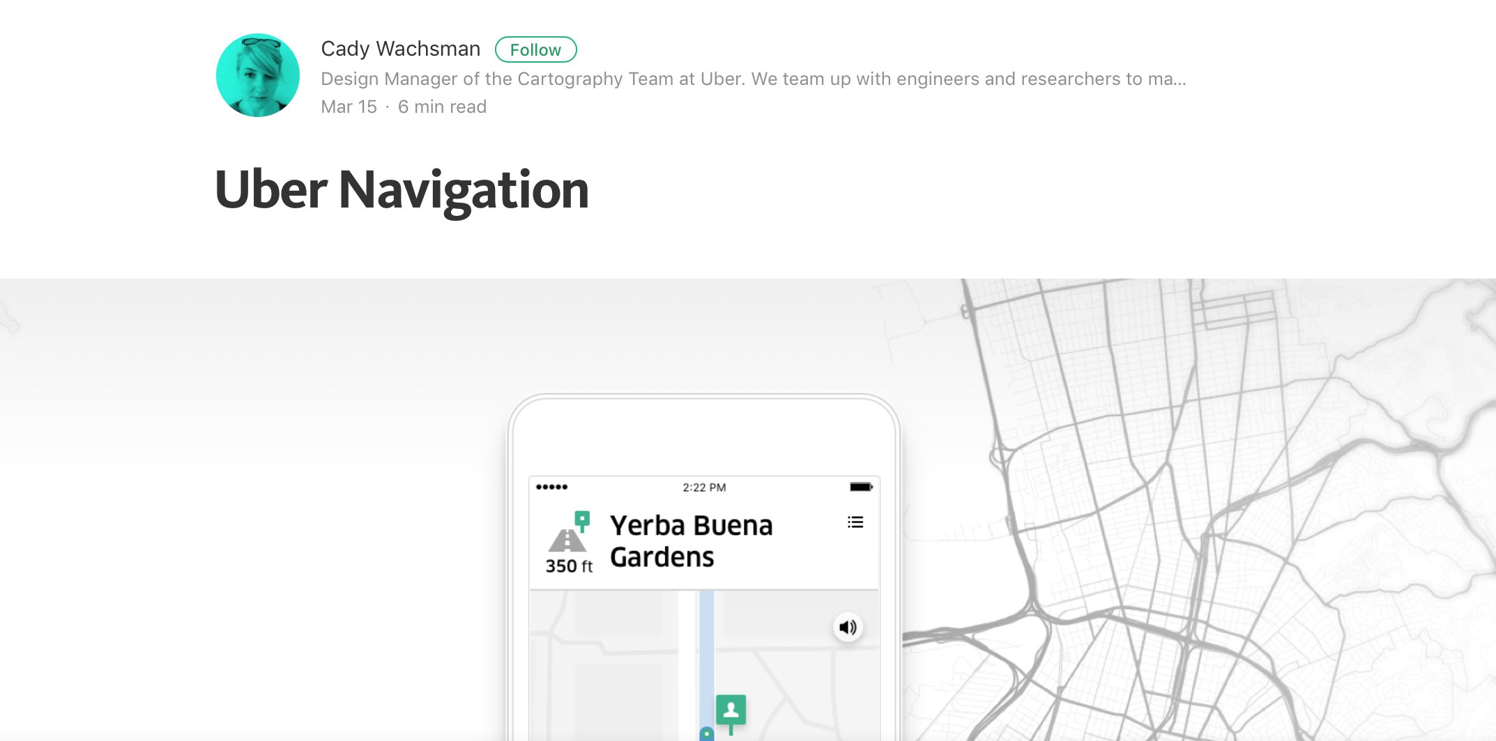 Uber Navigation Medium Article